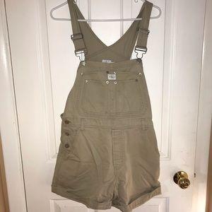 Khaki short overalls